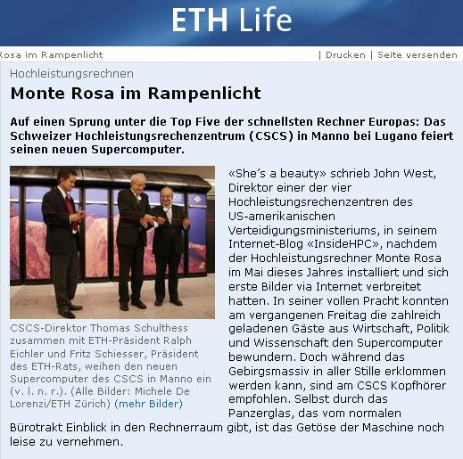 Article on ETH Life about Inauguration of Monte Rosa at CSCS