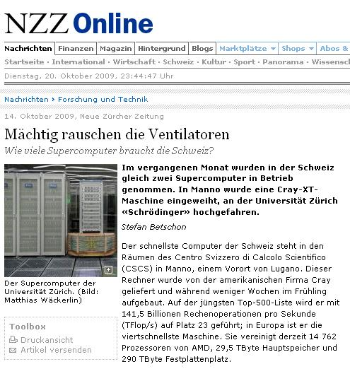 NZZ reports about HPC in Switzerland