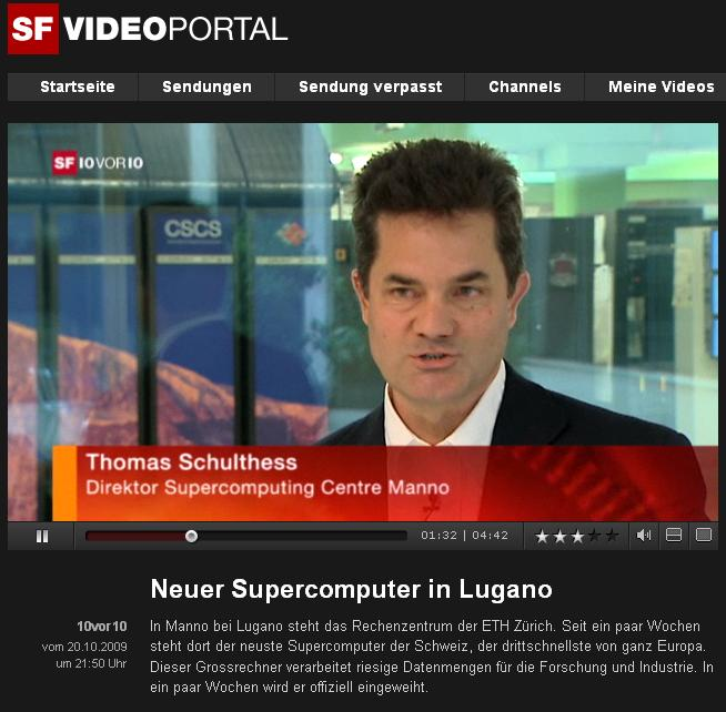 Swiss TV (SF1 10vor10) reports about CSCS and HPCN strategy