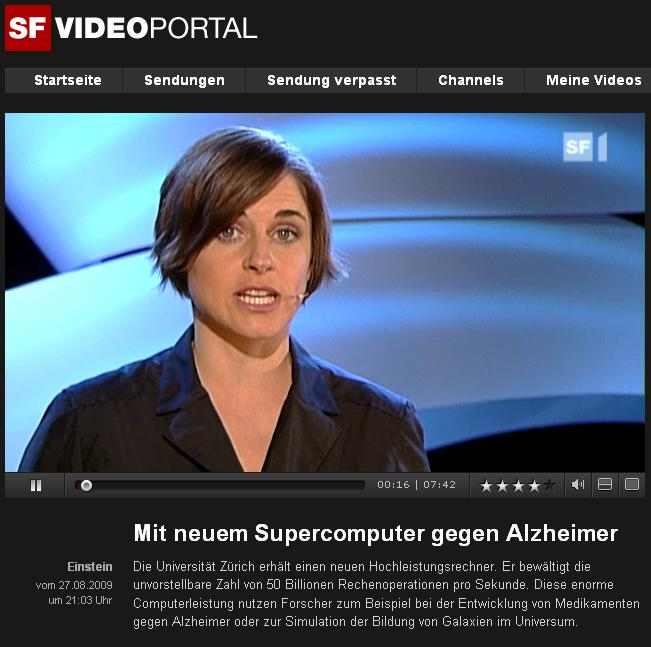 Swiss TV (SF1 Einstein) reporting on HPC system at the University of Zurich