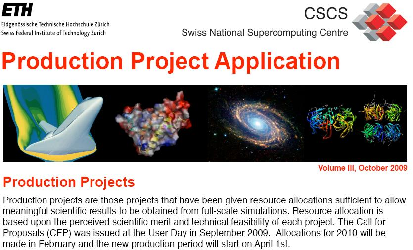 Call for Production Projects at CSCS