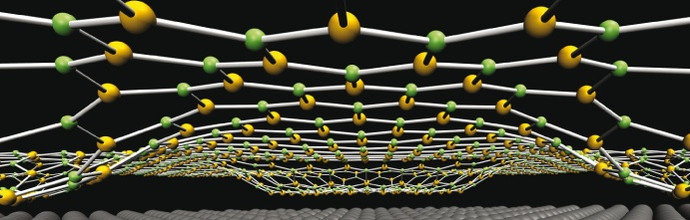 A structured two-dimensional surface. These so-called nanomeshes can be used as a type of template for developing new materials.