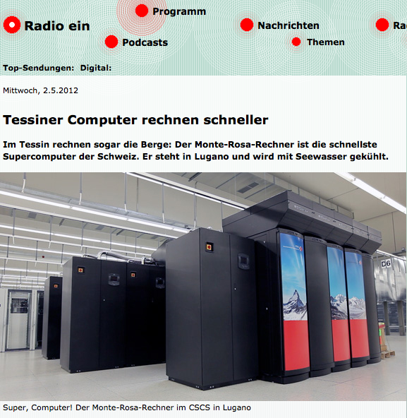 Swiss Radio DRS3 reporting about CSCS and Supercomputing