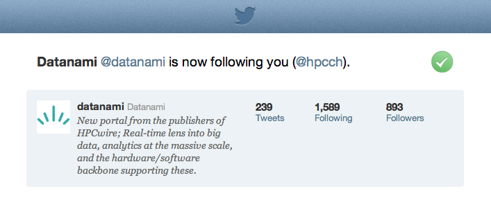 hpcch welcomes @datanami as the 100th follower on Twitter