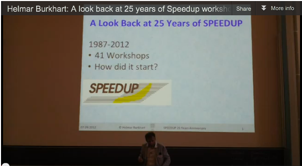 "Video from 41st SPEEDUP Workshop: Helmar Burkhart on ""A look back at 25 years of Speedup workshops"""