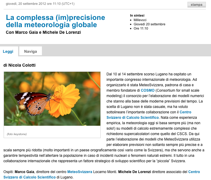 On Swiss Italian Radio today: La complessa (im)precisione della meteorologia globale