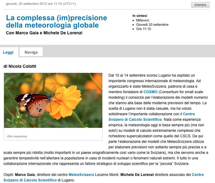 On Swiss Italian Radio today: La complessa (im)precisione della meteorologia globale