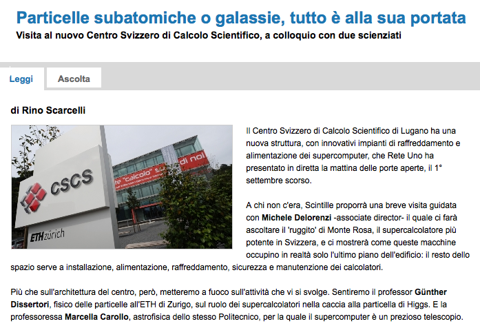 "Swiss Italian Radio RSI broadcast ""Scintille"" reporting about CSCS"
