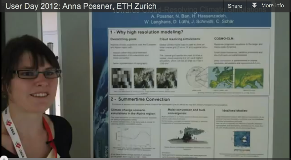 CSCS User Day 2012: Best poster winner Anna Possner presents her work on cloud-resolving climate simulations