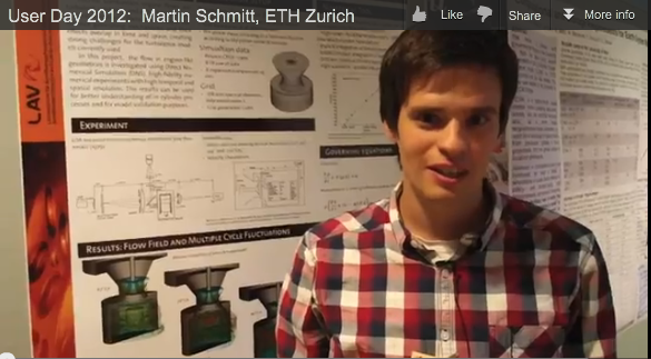 "Martin Schmitt presents his poster on ""Direct numerical simulation of flow in engine-like geometries"""