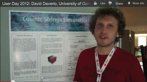 "David Daverio presents his poster ""Cosmic strings simulation"""