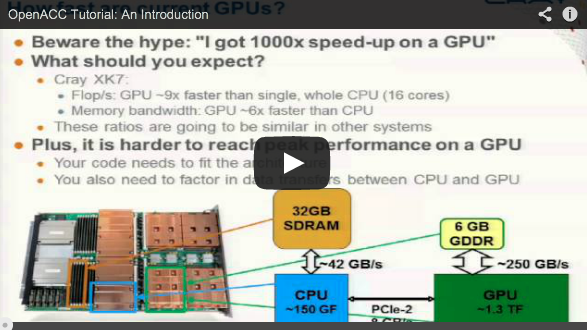 "I: ""Introduction to OpenACC and CUDA Programming on the Cray XK7 platform"" videos online"