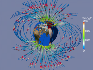 Earth's magnetic field is generated in its liquid iron core. Depicted are the results of a 3-D self-consistent computer simulation. Magnetic field lines are shown, with the strongest field near the poles being depicted in red and yellow. Courtesy Jean Favre, CSCS.