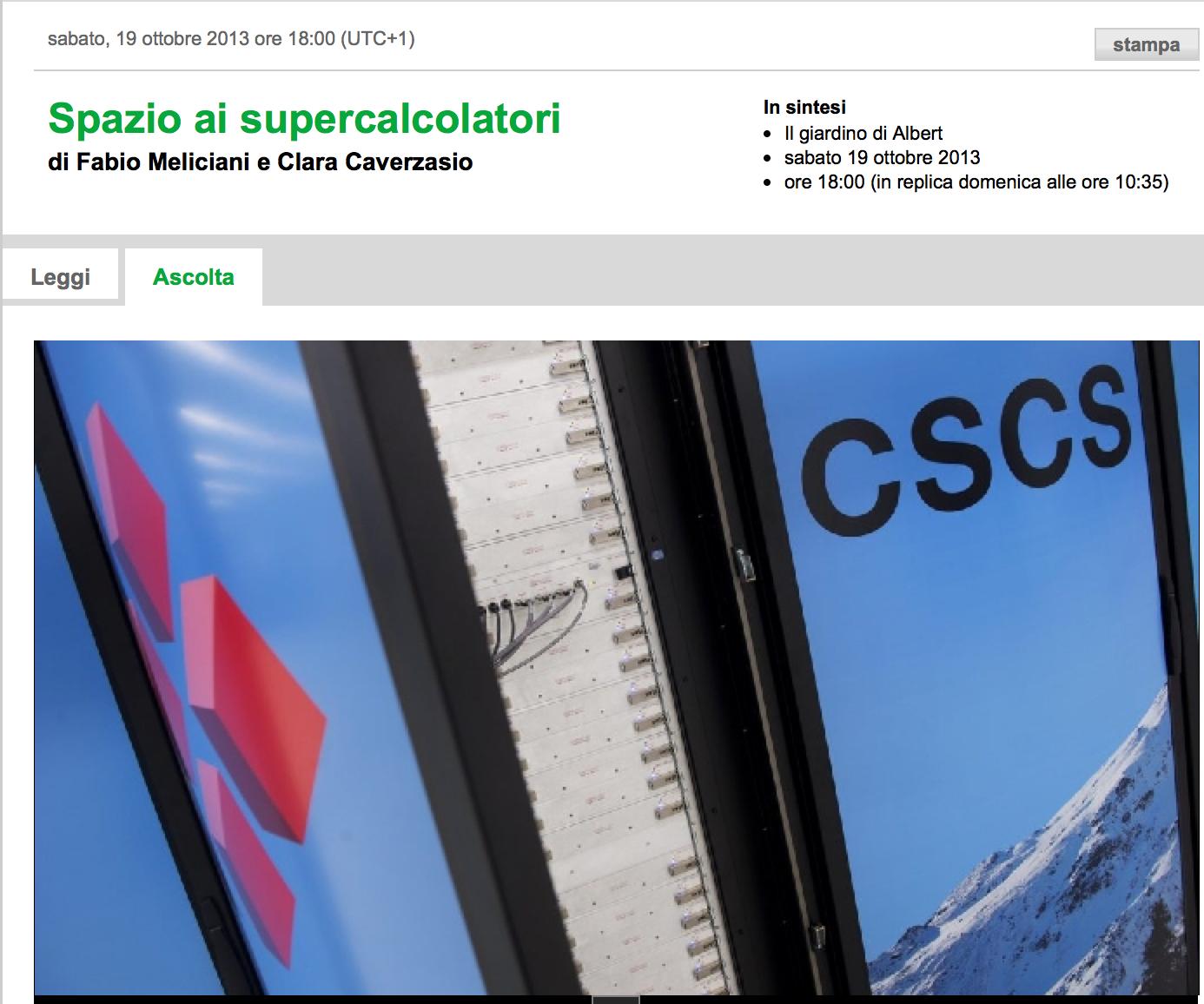 Spazio ai supercalcolatori: Swiss radio reports about astrophysics and HPC