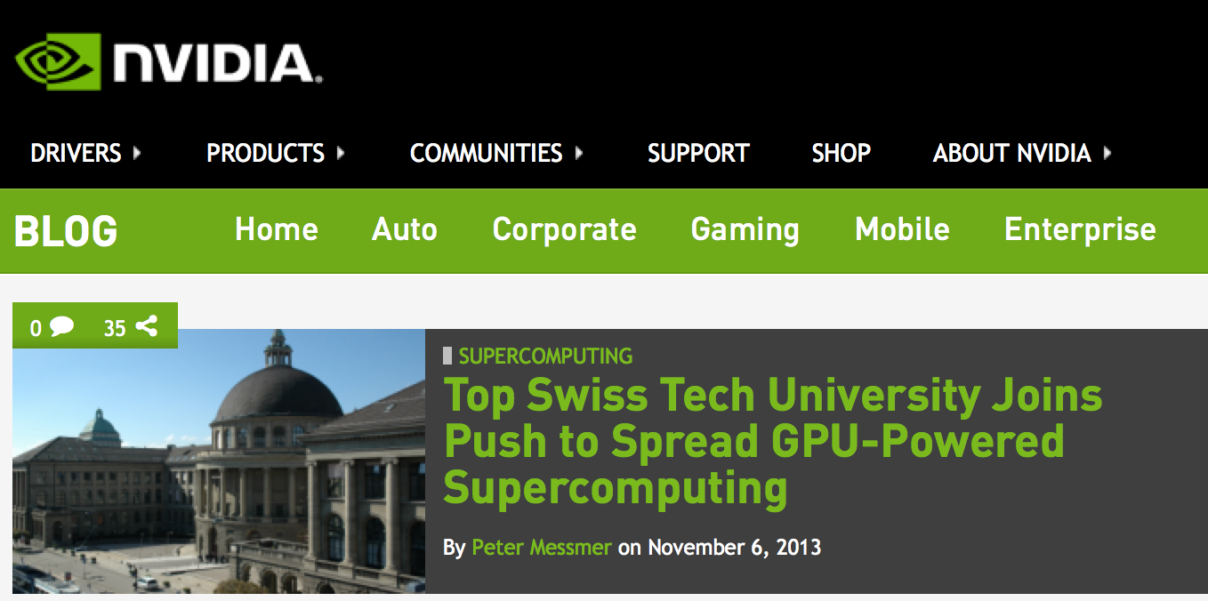 NVIDIA announces Co-Design Lab for Hybrid Multicore Computing at ETH Zurich