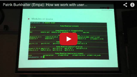 hpc-ch Forum: Patrik Burkhalter (Empa) – How we work with users in a small environment