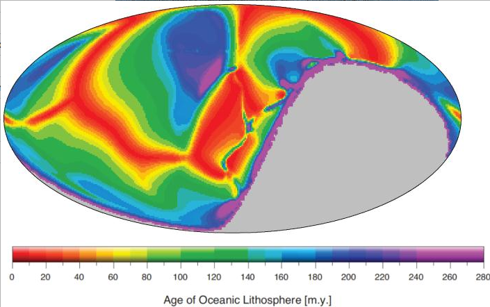 The researchers simulated how the local age distribution of the seafloor looks like under the assumption that the global share of the continental curst is 30 per cent. (Coltice N et al., Geology 2014)