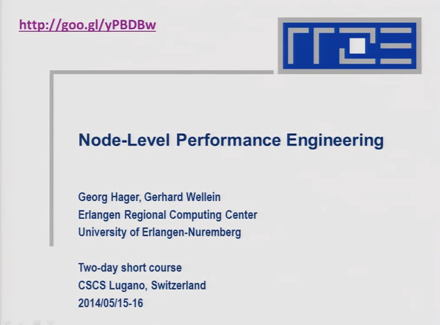 Slidecast: Node Level Performance Engineering Course at CSCS