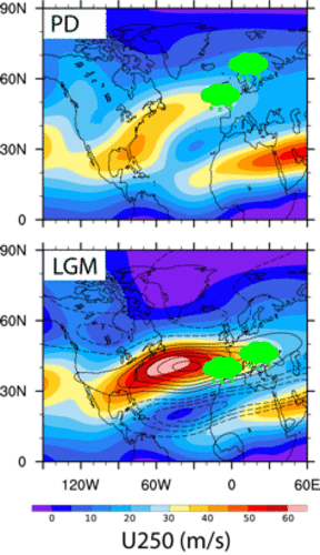 The image shows the behaviour of the jet stream and precipitation in the winter months today (PD) and during the last glacial maximum (LGM). (Source: Christoph Raible)