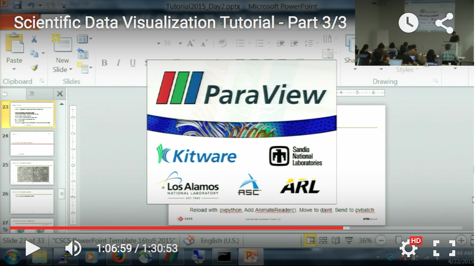 Video of  Scientific Data Visualization Tutorial at CSCS