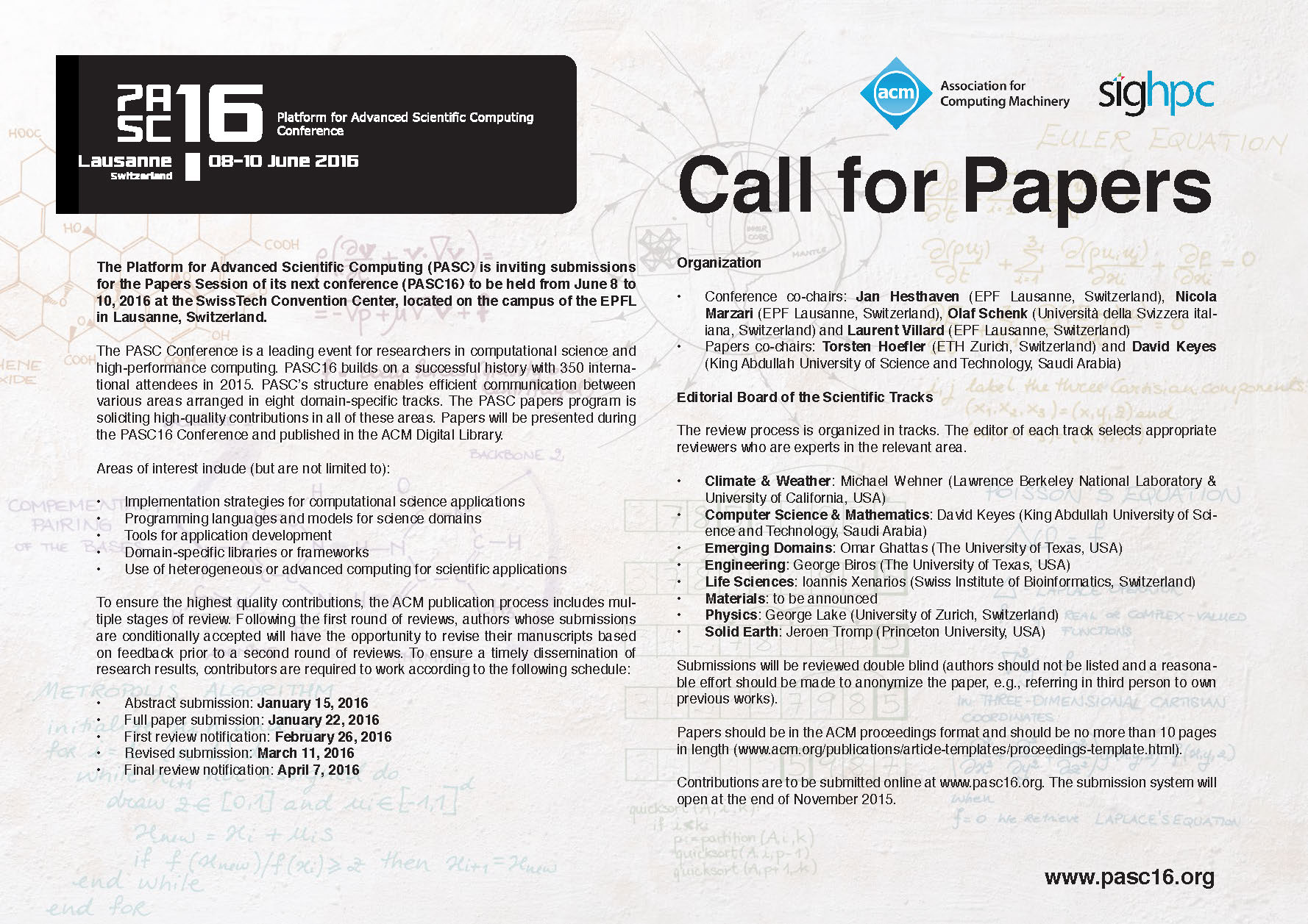 ACM PASC16 Conference – Call for Papers
