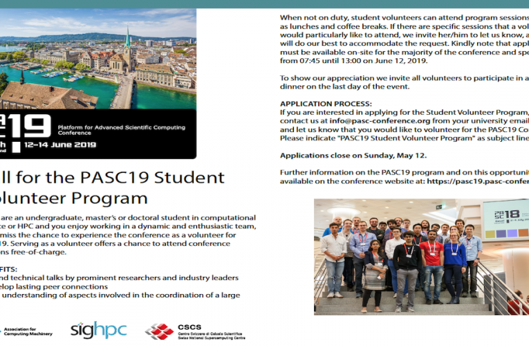 PASC19 – Student Volunteer Program – Volunteers needed